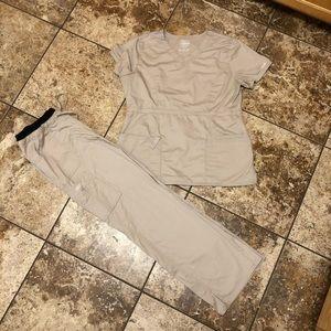 Cherokee core stretch khaki scrubs set size large